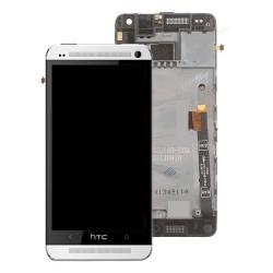 HTC One M7 ekranas su remeliu sidabrinis